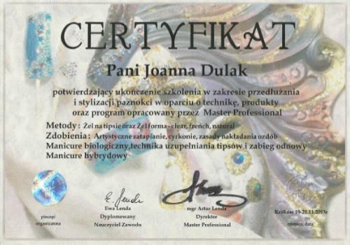 Certyfikat Paznokcie Rose