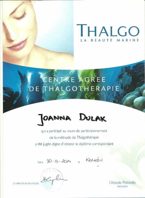 Thalgo certyfikat
